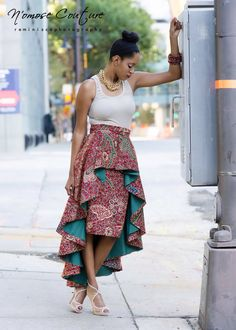 The Ivie High Low skirt by NomoseCouture. Empire waistline and shweshwe skirt