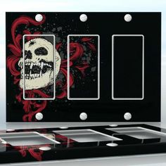 DIY Do It Yourself Home Decor - Easy to apply wall plate wraps | The Maniac Laughing vampire skull wallplate skin sticker for 3 Gang Decora LightSwitch | On SALE now only $5.95