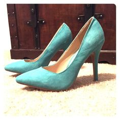 Aqua pointy toe 4 inch heels Only worn once, these heels are really cute and great for spring. They are soft and suede-like on the exterior, with a heel about 4 inches high. The toes are a rounded point. Zooki Shoes Heels