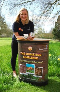 Antonia Evans, marketing assistant at Harper Adams University, is getting ready to hit the road with the Edible Bug Challenge - try #edibleinsects @ www.buggrub.com | #entomophagy
