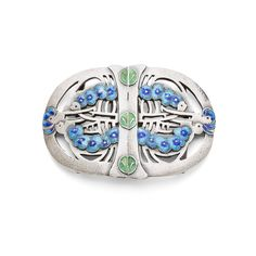 JESSIE MARION KING (1875-1949) FOR LIBERTY & CO., LONDON SILVER AND ENAMEL BELT BUCKLE, 1907 7.2CM ACROSS - SALE 475 - LOT 268 - LYON & TURNBULL