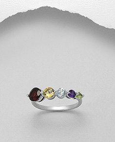 Inel argint ,granat, ametist,peridot,topazInel argint si ametist1 in stock Inel deosebit realizat din argint 925 si decorat cu cristale semi-pretioase de ametist.Placat cu rodiu -aspect de aur alb.Latime maxima: 13 mm.Greutate: 3,3 gr.Masuri disponibile: 8 (SUA). Sapphire, Rings, Jewelry, Jewlery, Bijoux, Jewerly, Ring, Jewelery, Wire Wrapped Rings