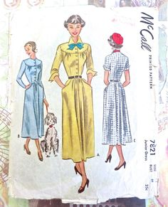 McCall 7821 - Vintage 1940s Shirtwaist Dress Pattern by Fragolina on Etsy