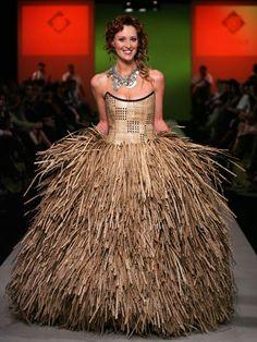 Ugly Wedding Dresses - Crazy Designer Wedding Dresses - Cosmopolitan--Looks like a thatched roof on some hut.