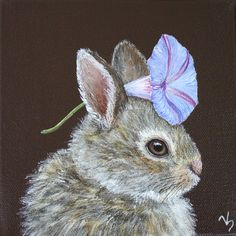 Bunny with morning glory flower by Lana Lop
