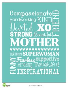 free Mother's Day Word Art Printables