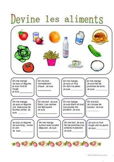 Nourriture - Devine l aliment # Nutrition worksheets French Language Lessons, French Lessons, French Classroom, School Classroom, Food In French, French Worksheets, Core French, French Resources, Teaching French