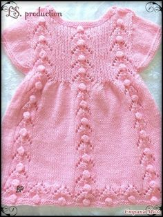 * Knitted dress for babe from yarn Children's Caprice Crochet Baby Poncho, Girls Knitted Dress, Knit Baby Dress, Knitted Baby Clothes, Crochet Girls, Baby Cardigan, Baby Pullover, Baby Vest, Baby Knitting Patterns