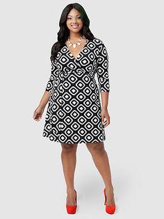Geometric Faux-Wrap Dress