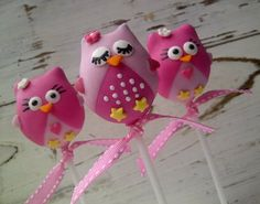 Cute Pink Owl Themed Cake Pops