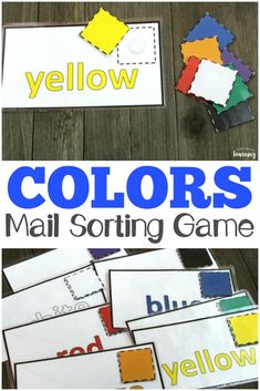 Toddlers and preschoolers will love this mail-themed preschool color sorting game! Perfect for a busy bag! via @lookwerelearn