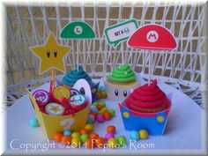 Mario Bros. Party Cupcake Holders & Toppers