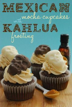 Mexican Mocha Cupcakes with chocolate skulls..the domestic rebel