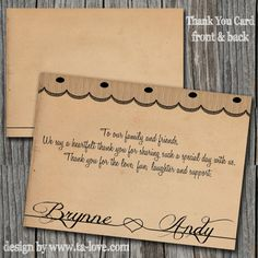Vintage Rustic Wedding Thank You Card Double Sided by talove, $20.00