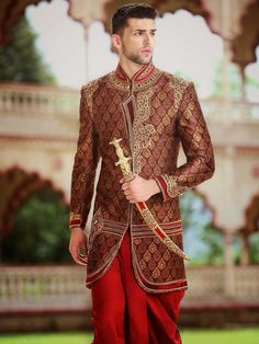 Heavy Brocade Men's wedding Sherwani