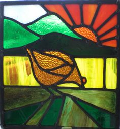 #artdeco style #stainedglass #window - this one is in my front door #hen #chickens