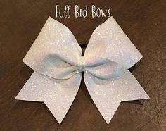 Cheer Bow White Glitter