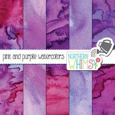 Watercolor Digital Paper – pink and purple watercolor scrapbook paper - watercolor texture - printable watercolor  paper - commercial use