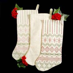 Huck Embroidery Stockings