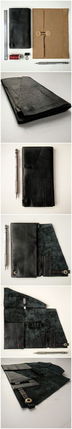 Handcrafted one-piece-cut leather pencil case | Handmade