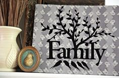"This no-sew wall decor is made with one of Nancy Zieman's laser-cut appliques. See now Lindsay from The Cottage Mama used the ""Family"" applique to create her wall art."
