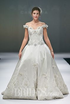 Eve of Milady - Fall 2014. Style 328, ball gown wedding dress with antique embroidered bodice and matching banded straps, Eve of Milady