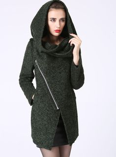 I need a jacket like this that can serve me inside on Winter days and outside during the Fall. For me, it's the contrast of the softness of the hood with the sharp angles of the bottom edge that make this a timeless piece.