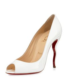 X2DZL Christian Louboutin Jolly Patent Squiggle-Heel Red Sole Pump, White