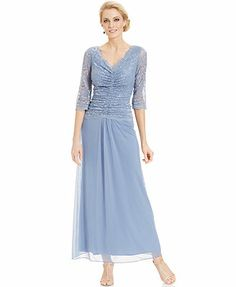 Alex Evenings Three-Quarter-Sleeve Illusion Lace Gown