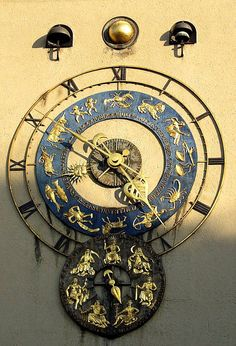 Clock Hourglass Time:  Astronomical #clock outside the Deutsches Museum.