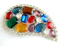 Vintage Rhinestone Buckle Multicolor Large Opulent Bling Belt Buckle Jewelry Accessory Possible Juliana DeLizza And Elster Bling Buckle by JewelryQuestDesign, $75.99