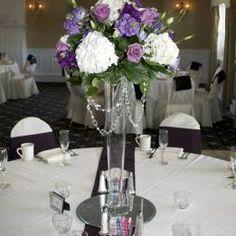 Tall White and Purple Centerpiece Arrangement
