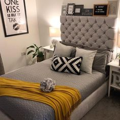 55 Sweet and Most Romantic Bedroom Furniture Ideas These trendy Bedroom ideas would gain you amazing compliments. Check out our gallery for more ideas these are trendy this year. Guest Bedroom Decor, Bedroom Colors, Mustard And Grey Bedroom, Feng Shui, Bedroom Furniture Makeover, Bedroom Photos, Room Interior Design, Trendy Bedroom, Beautiful Bedrooms