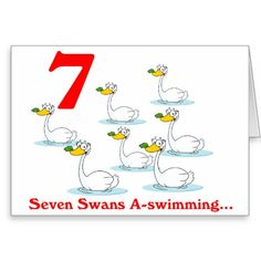 On the 7th Day of Christmas seven Swans a swimming Greeting Card