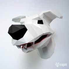 DIY funny dog papercraft trophy perfect for your wall decor by EcogamiShop Puzzles 3d, Origami 3d, Paper Glue, 3d Paper, Faux Taxidermy, Diy Funny, Ways To Relax, Low Poly, Decoration