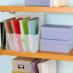 Show Off Your Paper            Use vertical paper storage holders to store a lot of paper in a little amount of space. Sort paper by color to make it easy to find
