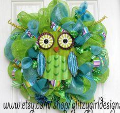 Whimsical Owl Wreath by GlitzyGirlDesigns on Etsy