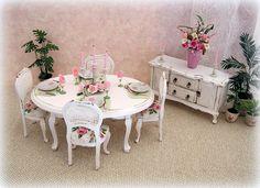 Dollhouse Shabby Rose white Dining room set by MiniAbuela on Etsy