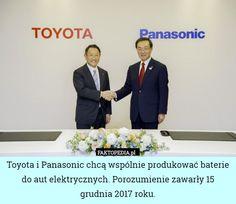 Toyota i Panasonic chcą wspólnie produkować baterie do aut elektrycznych. – Toyota i Panasonic chcą wspólnie produkować baterie do aut elektrycznych. Porozumienie zawarły 15 grudnia 2017 roku.