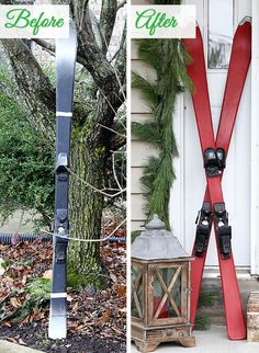 DIY chalk painted skis for festive holiday porch decor. Red chalk paint & Minwax Paste Finishing Wax).