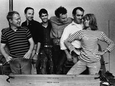"""Niki de Saint Phalle: """"Men's roles seem to give them a great deal more freedom and I WAS RESOLVED THAT FREEDOM WOULD BE MINE"""" Pictured here in 1962, rocking the stripes, with Jean Tinguely, Robert Rauschenberg, & other New Realists"""