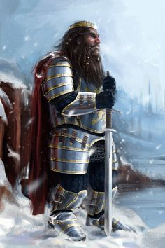 Dwarven king in gleaming armor.