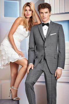 For a modern and updated look, choose the Grey Plaid Hamilton Suit. Tailored in soft, luxurious Super wool, its ultra slim fit styling is made to fit all. Slim Fit Suits, Slim Fit Trousers, Tuxedo Dress, Tuxedo Suit, Suit Rental, Grey Tuxedo, Bridal Dresses, Prom Dresses, Vest And Tie