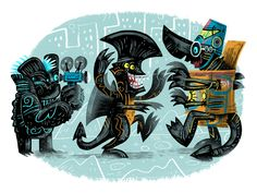 """The Early Years by Luke Flowers  12″ x 9″ giclee print, S/N edition of 25. Available HERE.Part of the """"Supahcute Kaiju Show 2″, open until April 26th, 2015 at Leanna Lin's Wonderland."""