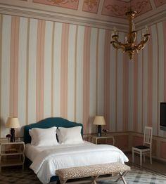 Jacques Grange. Tall ceilings + stripe wallpaper