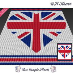 UK Heart c2c graph crochet pattern; instant PDF download; baby blanket, corner to corner, afghan, graphghan