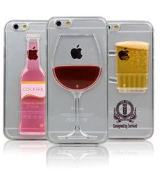 Red Wine Glass Beer Cocktail Moving Liquid 3D Case Cover D3 IPhone Samsung ()