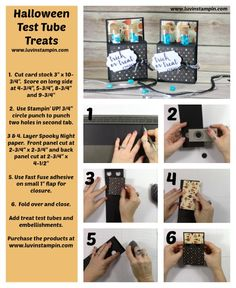 Luvin Stampin is dedicated to Stampin Up. Wendy Cranford teaches Stampin Up tutorials, Stampin Up project ideas and shares about new products. Halloween Cards, Holidays Halloween, Halloween Diy, Halloween Makeup, Test Tube Crafts, Test Tube Holder, Halloween Treat Holders, Craft Font, Diy Gift Box