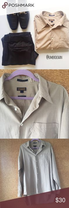 COACH Men's Shirt 80's two ply cotton Men's dress shirt by Coach. EUC. Longer back. Made in USA. Tannish brown color. No wash tag but machine washable. Please feel free to ask any questions :) Sorry, no trades. Coach Shirts Dress Shirts