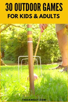 Spring is here and everyone wants to get outdoors! Whether you want to go on a picnic or have a fun time outdoors with the kids, these are thee best 30 outdoor games that thee whole family will enjoy. Woodworking Inspiration, Woodworking Projects For Kids, Diy Woodworking, Outdoor Yard Games, Outdoor Games For Kids, Outdoor Decor, Arts And Crafts Projects, Diy Projects, Yard Games For Kids
